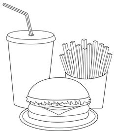 Printable Fast Food Coloring Pages: Printable Fast Food Coloring Pages