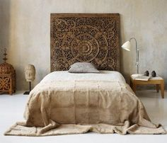 Carved wood headboard by summeryeah, for the perfect bohemian and rustic home interior style!