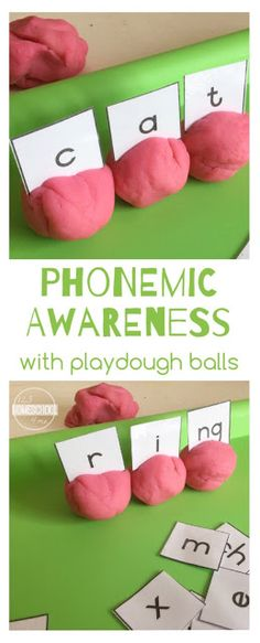 Phoenimic Awareness Educational Activity with Playdough Balls - this is such a great educational activity for Preschool, PreK, Kindergarten, 1st grade, 2nd grade, and 3rd grade kid to teach phonics