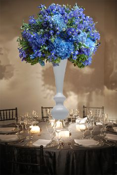 Blue hydrangea and iris centerpiece for a wedding reception Preston Bailey Event Ideas