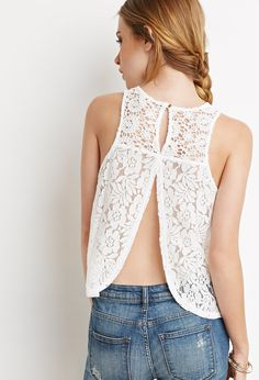 Crochet-Paneled Lace Top   Forever 21 - 2000155812