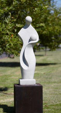 Mother & Child White Terrazzo Statue