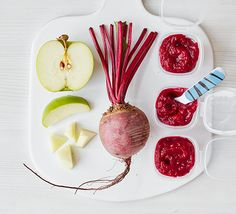 Weaning recipe: Before moving your baby to solids, get them used to new flavours like this apple and beetroot purée. An ice cube tray is ideal for freezing portions Baby Puree Recipes, Pureed Food Recipes, Bbc Good Food Recipes, Baby Food Recipes, Healthy Recipes, Recipes Dinner, Toddler Meals, Kids Meals, Baby Tips