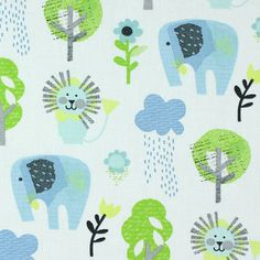 Cotton Stamp Zoo 2 - Cotton - blue
