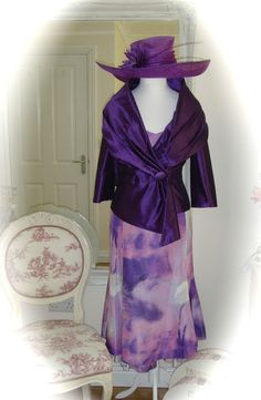 NWT Presen Dress/Jacket, 14, Purple/Lilac & Hawkins Hat, Weddings Races Formal