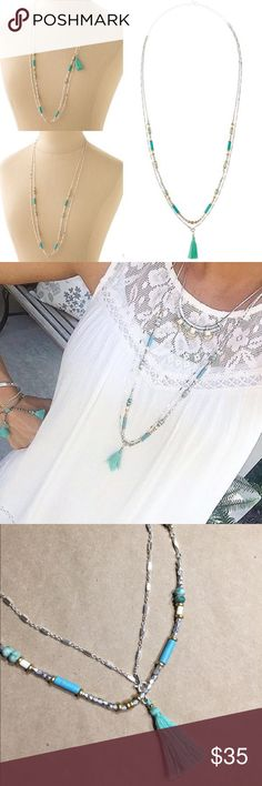 Stella & Dot - Costa silver/aqua necklace Silver necklace with Aqua and turquoise stones, white beads and Aqua removable tassel. Lightweight and beautiful.   Brand new, in original box. Stella & Dot Jewelry Necklaces