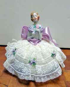 Nicely Dressed in Beautiful Lace Skirt Vintage Antique Lace Porcelain Half Doll | eBay