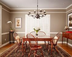 Two Tone Walls With Chair Rail Painting Dining Room With Chair