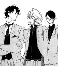 "sajou:     Our Doukyuusei boys.Look how smug Kusakabe is being...his grin says ""I won""."