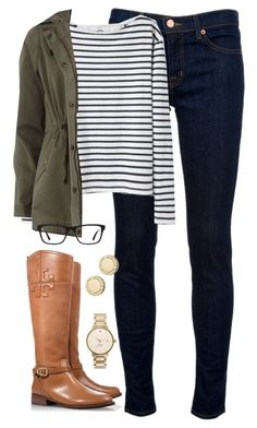 military green jacket, black and white striped sweater, dark denim Jeans, gold watch and #ToryBurch brown riding boots