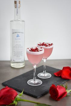 Georgian Bay Spirit Co. Gin Recipes, Rose Bay, Alcoholic Drinks, Cocktails, Freezing Cold, Pomegranate Juice, Cocktail Glass, Rose Petals, Georgian