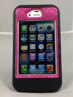 Otterbox Glitter Customized Commuter Case For IPhone 4 4S Raspberry PLEASE