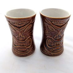 Daga Tiki Warrior Mugs Honda Lot 2 Chocolate Brown Ceramic 1985