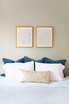 Calligraphy vows prints in our master bedroom - Em for Marvelous - Home Bedroom, Bedroom Wall, Master Bedroom, Bedroom Decor, Bedrooms, Bedroom Ideas, Bedroom Inspo, Modern Bedroom, Wedding Vow Art
