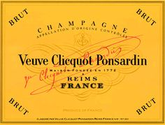 Veuve Clicquot Yellow Label Brut half-bottle) from Champagne, France - A Champagne House is eventually judged on the quality of its Brut Non Vintage. It is in the making of such a wine that the true Art of Champagne blending reveal. Vintage Wine, Vintage Labels, White Raspberry, Champagne Label, Wedding Champagne, Famous Wines, Wine Logo, Preserved Lemons, Wine Label Design