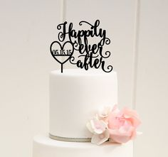 Happily Ever After Wedding Cake Topper with by ThePinkOwlDesigns - Shared by WedNwishes
