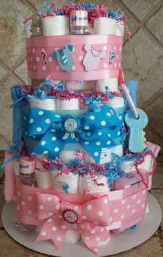 3-Tier Pink & Blue Gender Reveal Diaper Cake by 209 Diaper Cakes & Gifts