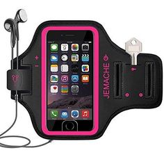 iPhone 7 Plus Armband JEMACHE Fingerprint Touch Supported Sports Running Exercise Gym Arm Band Case for iPhone 7 Plus with Card Pockets and Key Slot (Rosy)