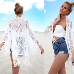 white lace and fringe bathing suit cover up kimono •size: can fit XS-M •features: beautiful delicate white lace kimono bathing suit cover up with off white/cream fringe details. second picture is a modeled picture •no trades ❗️❗️ NOT from listed brand (brand listed for visibility. real brand: Ashley's Boutique) ⚠️ if this item does not fit you CANNOT return it - poshmark policy ❗️ all sales are FINAL Nasty Gal Swim Coverups