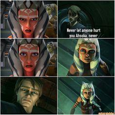Ahsoka after sensing Anakin within Vader.  The Clone Wars
