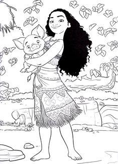 Walt Disney Coloring Pages - Moana Waialiki & Pua - Walt Disney Characters Photo (40004451) - Fanpop