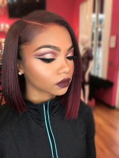 black jacket, red burgundy hair, cute short haircuts for women, dark red matte lipstick Black Women Short Hairstyles, Popular Short Haircuts, Short Red Hair, Haircut Styles For Women, Short Haircut Styles, Cute Short Haircuts, Natural Hair Styles For Black Women, Hair Color For Black Hair, Short Hair Cuts For Women