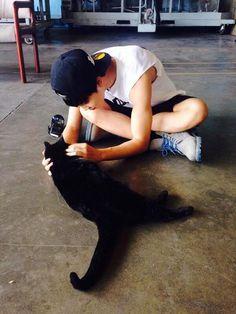 jimin and a cat :] #bts