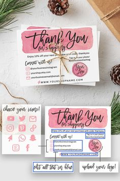 seniorchartier - 0 results for packaging ideas Business Thank You Notes, Small Business Cards, Craft Business, Etsy Business Cards, Beauty Business Cards, Printable Thank You Cards, Thank You Card Template, Printable Labels, Thank You Customers