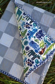 33 Shades of Green: Grey & White Gingham Baby Quilt