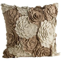 Alana square pillow cover ivory taupe wool by Arteriors. Diy Pillows, Decorative Pillows, Throw Pillows, Cushions, Sofa Pillows, Felt Flowers, Fabric Flowers, Floral Fabric, Flower Pillow