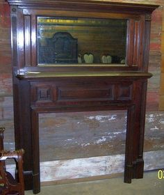Walnut Tall Fireplace Mantle, Federal Colonial Style, Raised Panels from robertsantiques on Ruby Lane