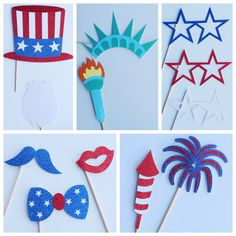 4th of July Party, Fourth of July Photo Booth Props ; Independence Day ; July 4th Photo Props ; Memorial Day Photobooth, USA Lets Get Decorative