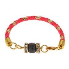 Vivian Bracelet- faceted black onyx stone. Nylon braided cord. Rhinestone. Fun, trendy, cool. Black, silver, green,  hot pink, teal.