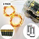 [2 PACK] Qicai H LED String Lights Copper Wire Lights Waterproof Starry String Lights Battery Operated D