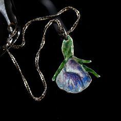 Violet sterling silver enamel corncockle  flower by JRajtar