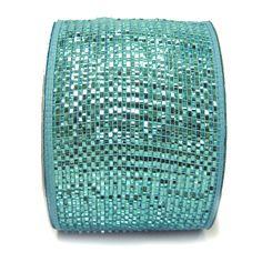 """Wide Foil Metallic Deco Poly Mesh® Ribbon  Turquoise with Turquoise Foil metallic 4"""" in width; 25 yards Craig Bachman Imports"""