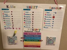 Chore and behavior chart for multiple kids