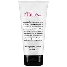 Mask for Oily Skin: Sephora: Philosophy : Total Matteness Pore-Minimizing & Mattifying Cleanser Mask. Use daily as a cleanser or as an astringent mask Big Pores, Nose Pores, Acne Face Mask, Face Skin, Face Masks, Warts On Face, Homemade Facial Mask, Purifying Mask, Shrink Pores