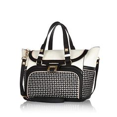 River Island Black laser cut tote bag $140.00 the pale pink piping is so cute!