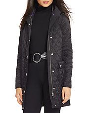 Petite Quilted Nylon Trench Coat