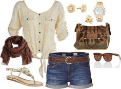 cute and casual summer outfit, created by burzyk98 on Polyvore