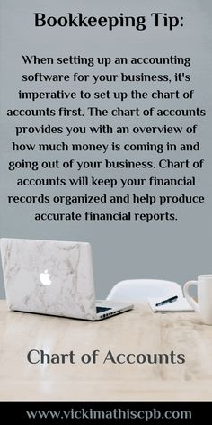 Chart of Accounts Small Business Bookkeeping, Bookkeeping And Accounting, Small Business Plan, Small Business Accounting, Accounting And Finance, Accounting Software, Business Marketing, Business Education, Business Planner