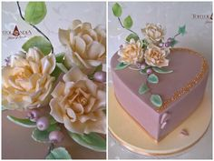 B-day cake in pastel colour for woman to her beauty 66 years with sugar roses and edibele gold crystal. Mini Tortillas, Birthday Cake With Flowers, Cake Birthday, Heart Cakes, Sugar Rose, Valentines Day Cakes, Engagement Cakes, Elegant Cakes, Pretty Cakes