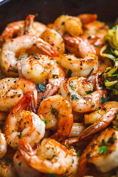 Lemon Garlic Butter Shrimp with Zucchini Noodles - This fantastic meal cooks in one skillet in just 10 minutes. : Lemon Garlic Butter Shrimp with Zucchini Noodles - This fantastic meal cooks in one skillet in just 10 minutes. Shrimp Recipes Easy, Fish Recipes, Seafood Recipes, Dinner Recipes, Cooking Recipes, Healthy Recipes, Cheap Recipes, Bacon Recipes, Garlic Shrimp Recipes
