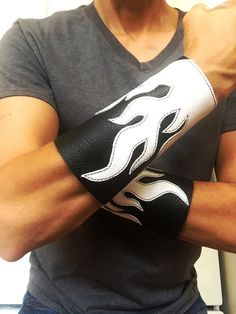 Biker arm bracers white flames leather arm by ChristyKeysCreations