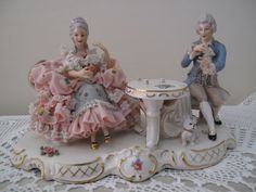 A RARE SIGNED DRESDEN LACE FIGURINE OF TWO FIGURES PLAYING CARDS
