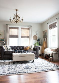 Eclectic Bohemian Living Room Redo with a New Leather Sofa