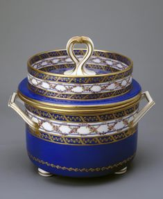 Title: Ice-Cream Bowl Complex: Blue Service Place of creation: France Date: 1788 School: Sevres Material: soft-paste porcelain Dimensions: h. Ice Cream Bowl, Hermitage Museum, 18th Century, Porcelain, France, Ceramics, School, Blue, Collection