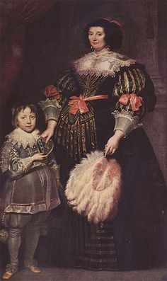 Portrait of Charlotte Butkens, Lady von Anoy, with her son. Anthony Van Dyke C. 1631 Virago Sleeves