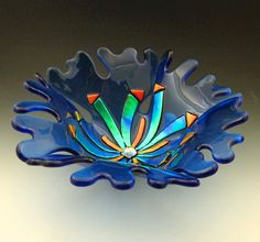 Glass Sea Petals Bowl Pale Blue fused by LivingOnTheEtch on Etsy, $75.00